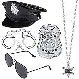 Haichen Conjunto de Accesorios de Disfraces de policía Sombrero de policía Esposas Gafas de Sol Insignia Truncheon Policía de Halloween Detective Juego de Roles Accesorios