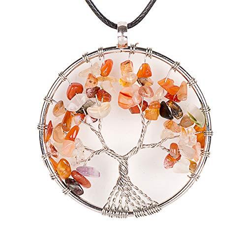 pierre pr/écieuse semi-pr/écieuse QUINONE Collier avec pendentif arbre de vie fabriqu/é /à la main Bracelet Reiki aux 7 chakras