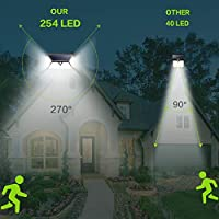 Solar Lights Outdoor 254 LED,【Automatic illumination】Feob Solar Motion Sensor Security Lights [2500LM-2500mAh] - 3 Optional Modes, IP65 Waterproof Solar Lamp Solar Powered Wall Light (2 Pack) 13