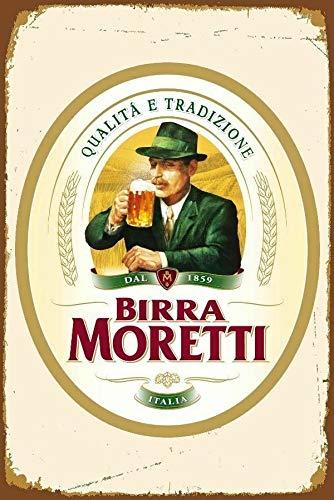 Placa de pared de 30,4 x 40,6 cm, cartel de cerveza italiana de Birra Moretti, póster artístico para bar, hogar, hombre, cueva, club, cocina