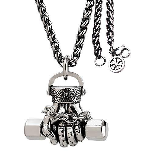 FORFOX Vintage Titan Stahl Hantel Anhänger Halskette für Herren Jungen 60cm Kette