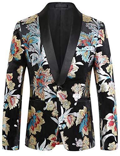 PIZOFF Heren Bloem Vergulden Regular Fit Blazer Fluwelen pak