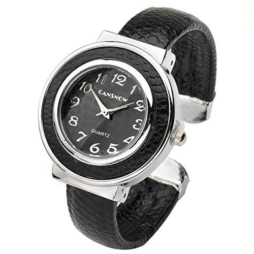 JSDDE Uhren, Chic Manschette Damenuhr Rund Spangenuhr Leder Metallband Armbanduhr Armreif Analoge Kleideruhr Quarzuhr für Frauen (Schwarz)