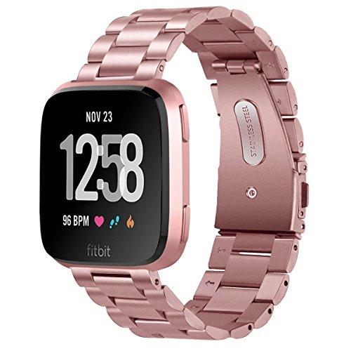 V-MORO Kompatibel mit Fitbit Versa Armband/Fitbit Versa Lite/Versa 2 Armband,Solide Edelstahl Metall Ersatz Band Uhrenarmband Armband für Versa/Versa Lite Smart Watch Schwarz Silber Roségold