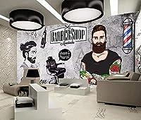 写真の壁紙3D壁画美容室ヴィンテージのレンガの壁の理髪店の背景現代のHDポスター大きな壁のステッカーツーリング壁アート装飾壁の装飾-78.8x55.1inch
