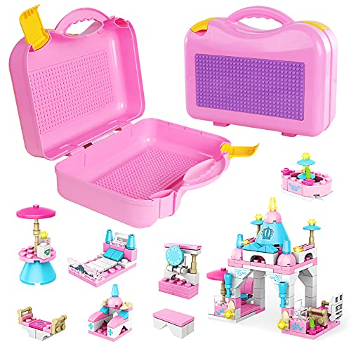 Classic Creative Suitcase with Friends Princess Castles Building Kit, Travel Case with Building Plate Lid, Best Learning and Roleplay STEM Construction Playset Toy for Kids Girls 6-12 (242 Pieces)