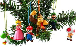 Super Mario Brothers Christmas Ornaments Figurines Pack of 6