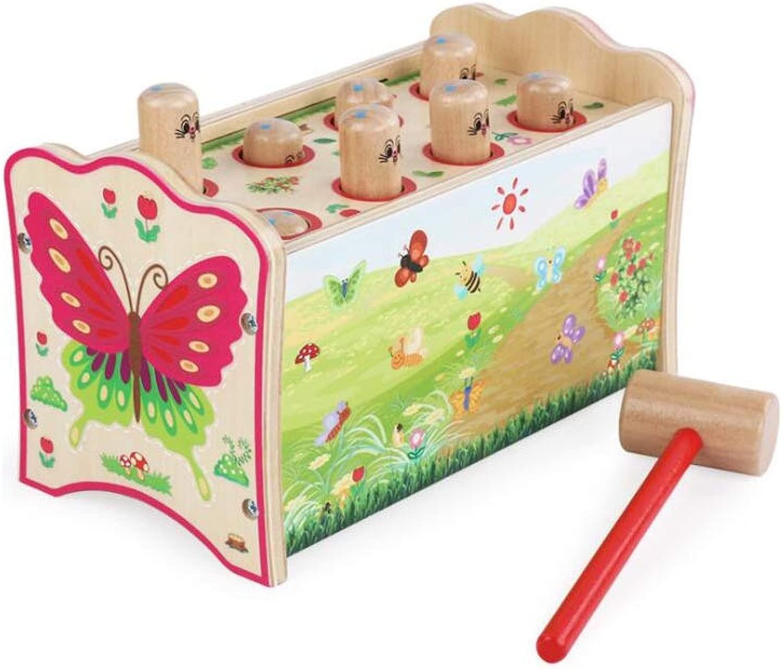 QARYYQ Giocattolo in Legno Gree Giocattolo Puzzle Battito Due in Uno Battere sul Criceto Giocattoli per Bambini 11.7x22x13cm Giocattolo (Coloree   A)
