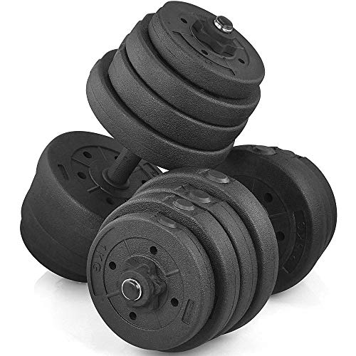 YAHEETECH 66 LB Weight Dumbbell Set Fitness Adjustable Cap Gym/Home Barbell Plates Body Workout, Black