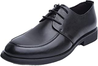 Leather Oxford for Men Business Dress Shoes Lace up Genuine Leather Pointed Toe Block Heel Low Top Rubber Sole shoes (Color : Black, Size : 38 EU)