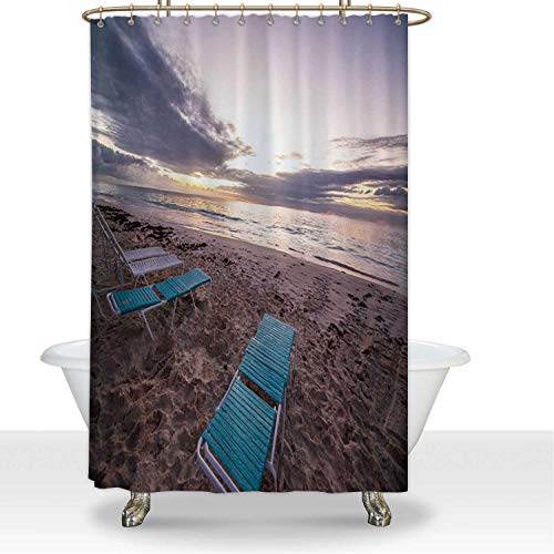 ALUONI Sunrise on Bermuda Beach Polyester Fabric Shower Curtain Shower Accessories,for Hotel,72''W x 72''H