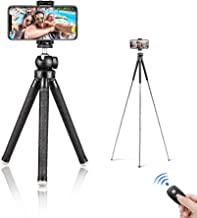 "Aureday 39.5"" Cell Phone Tripod, Portable Extendable Adjustable Tripod Stand with Cellphone Mount & Wireless Remote, Fits iPhone & Android Phone"