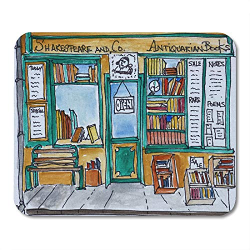 Aikul Mouse Pads Watercolor Architecture Shakespeare Co Bookstore Paris Book Mouse Mat 9.5' x7.9' Mouse Pad Suitable for Notebook Desktop Computers Office Accessories