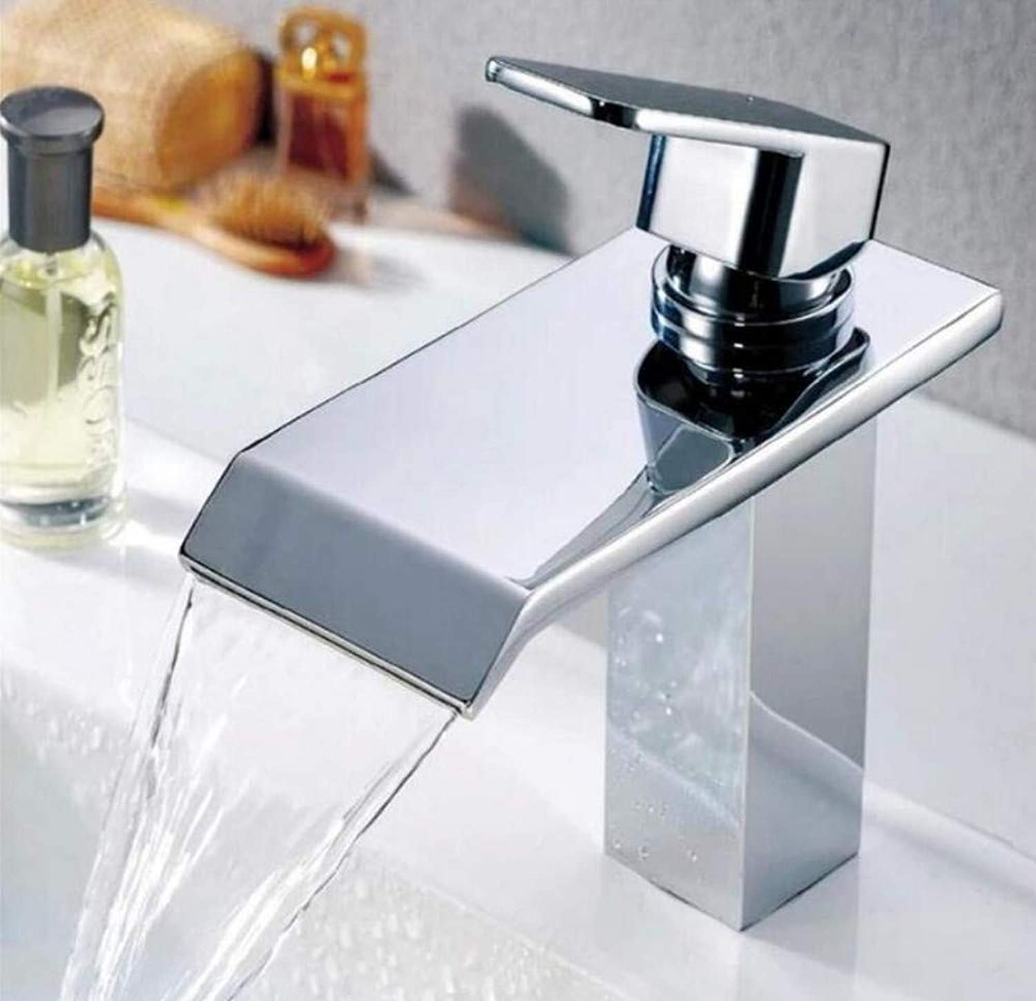 Brass Chrome Hot and Cold Water Mixer Deck Mount Waterfall Bathroom Faucet Vanity Vessel Sinks Mixer Tap