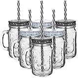 My-goodbuy24 6er Set Trinkbecher Trinkgläser Sterne 2 Desgins mit Deckel und MEHRWEG Strohhalm - Strohhalm ist wiederverwendbar - Trinkglas - Cocktailglas - Glas - 450 ml