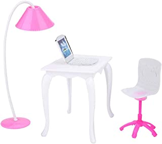 TOPINCN Doll Role Play Furniture Accessories Children Girls Pretend Play Toy Kit Plastic Computer Desk Table Lamp Chair for 18inch Dolls Random Color
