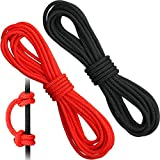 2 Pieces Archery D Loop Rope 10 Feet Archery Bowstring Serving Thread D Loop Rope Release Material Nocking D Loop Rope String (Black and Red)