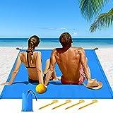 Hippodance Alfombras de Playa, Manta Picnic Impermeable Anti-Arena con Bolsa y 4 Estaca Fijo para la Playa, para la Playa, Picnic, Acampa y Otra Actividad al Aire Libre (200 * 140cm)