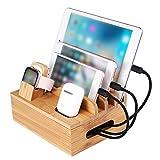 Estante de carga de bambú para varios dispositivos, estación de carga de almacenamiento y organizador para teléfonos móviles, teléfonos inteligentes, tabletas y otros dispositivos electrónicos