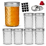 LovoIn 6 Pack 8oz Regular Mouth Mason Jars with Lids and Bands, Glass Canning Jars Ideal for Food Storage, Jam, Body Butters, Jelly, Wedding Favors, Baby Food