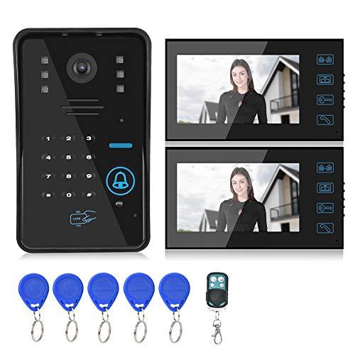 Wosune Portero automático con Sistema de visión Nocturna, Control de 2 monitores, videoportero con Cable, oficinas para(European regulations)