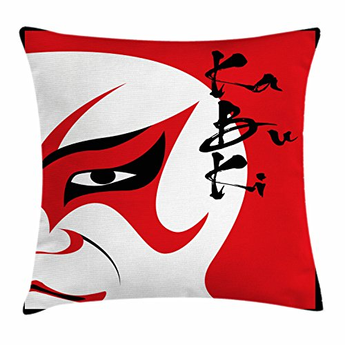 Ambesonne Kabuki Mask Throw Pillow Cushion Cover, Style Drama Theater Kabuki Face with Calligraphy Print, Decorative Square Accent Pillow Case, 28