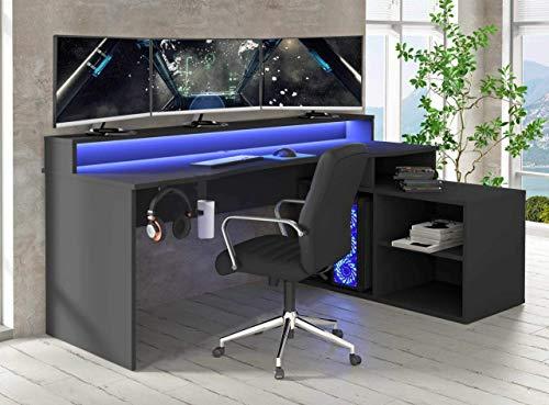 TEZAUR 4B Gaming Desk Computertisch mit LED-Beleuchtung, von Forte