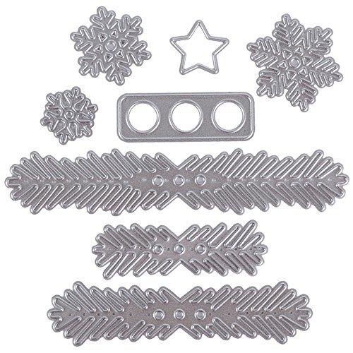 8 Stück Metall Stanzschablonen Metall Schneiden Schablonen Stanzformen Silber für DIY Scrapbooking Album, Schneiden Schablonen Papier Karten Sammelalbum Deko Tannenbaum Zweige+Schneeflocke+Stern