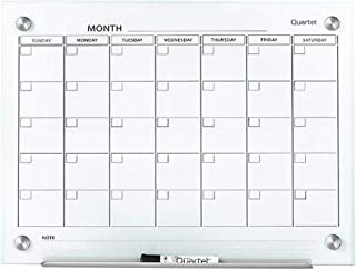 Quartet Magnetic Whiteboard Calendar, Glass Dry Erase White Board Planner, 2' x 1.5', White Surface, Frameless, Infinity (GC2418F)