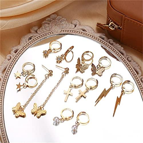 FEARRIN Pendientes para Mujer Stud Bohemio Vintage Gold Animal Pendientes Colgantes para Mujer Pendientes de Cruz de Mariposa Joyería Declaración 51513