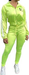 Líneas Reflectantes de Neón Conjuntos a Juego Mujeres Ropa Deportiva Informal Conjuntos de 2Piezas Satin Zipper Chaqueta y Pantalones de Moda Conjunto