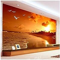 Wkxzz 壁の装飾画カスタム3D壁画壁紙サンセットビーチ写真撮影風景リビングルームテレビの背景写真の壁紙-350X250Cm