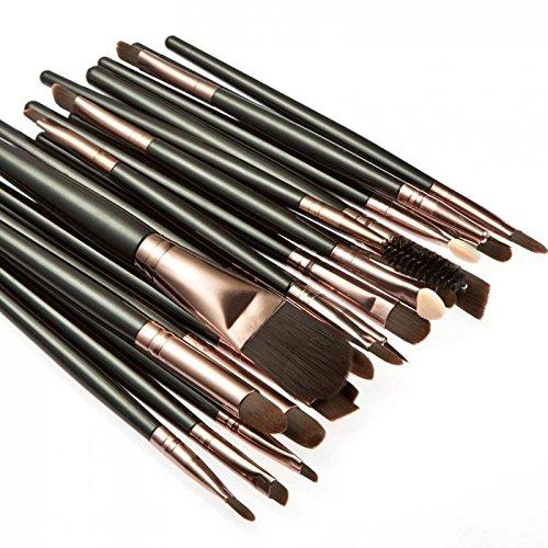 Palette Anticernes 15 Couleurs + 20pcs Pinceaux de Maquillage Set - Noir Café