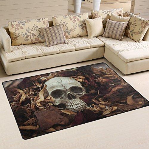 Use7 Tapis antidérapant motif tête de mort et feuilles humaines, pour salon, chambre à coucher, 100 x 150 cm