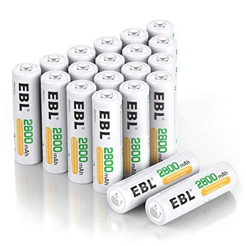 EBL AA Akku 2800 mAh 20 Stück - Mignon NI-MH wiederaufladbare Batterien mit hoher Kapazität 1200 Ladezyklen