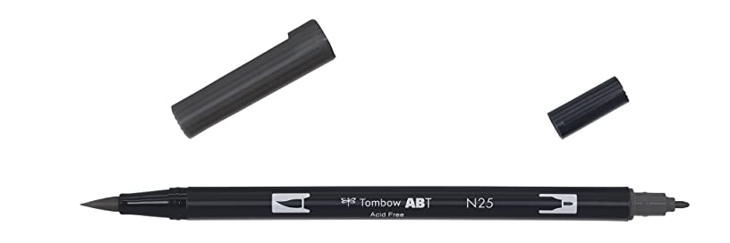 Tombow Dual brush-n25?–?Double Brush Tip Marker, Black