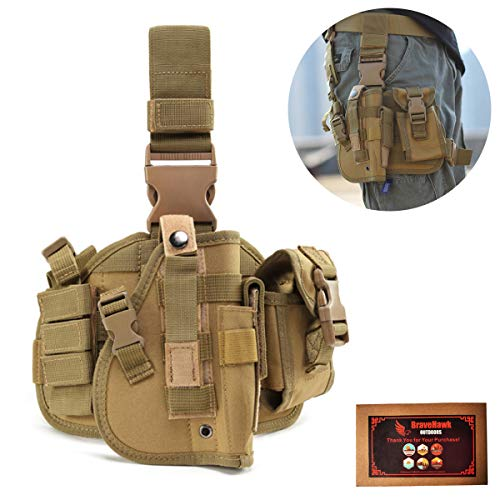 BraveHawk OUTDOORS Tactical Drop Leg Holster, 900D Military Tactical MOLLE Pistol Handgun Thigh Holster Platform Panel for Glock 17 18 19 26 34 and More (Khaki)