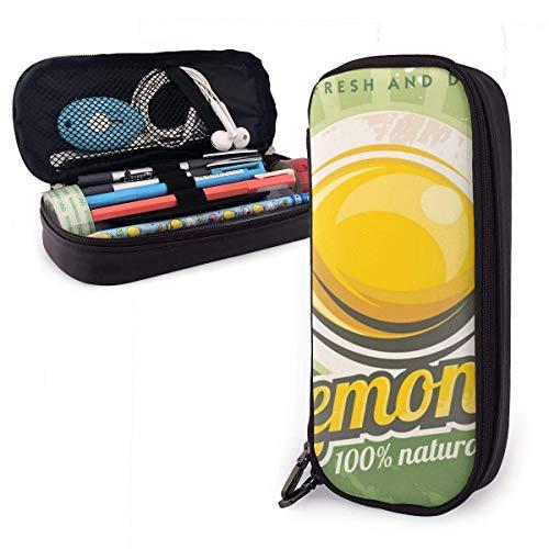 Yuanmeiju Retro Metal Sign Lemons Leather Estuche with Zipper,8 X 3.5 X 1.5 Inch Pencil Holder Pen Case Pouch