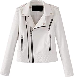 Macondoo Women's Juniors Oblique Zipper Coat Faux Leather Moto Jacket