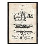 Nacnic Poster Patent Trompete. Blatt mit altem