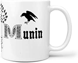 CCMugshop Divertida Taza de café de cerámica con diseño del árbol de la Vida Celta de Vikingo Nórdico Yggdrasil con el Cuervo de Odin, Huginn y Munin, diseño de Tatuajes, Color Blanco, Blanco, 330ml