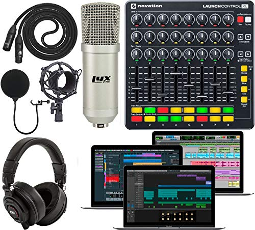 Novation Launch Control XL Controller for Ableton Live with Creative Music Software Kit and Professional Studio Microphone and Recording Kit