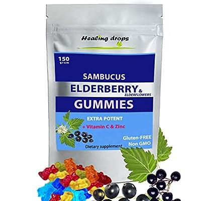 Sambucus Elderberry & Elderflower Gummies Extra Potent Organic Herbal Supplement Rich in Vitamin C and Zinc Gluten Free Non GMO Perfectly Formulated Natural Black Elderberries & Elderflowers by Pro Bio Medicine