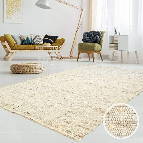 T.Carpet Gewalkter Handweb-Teppich Lambrecht aus Hochwertiger Schurwolle edel und aufwendig...