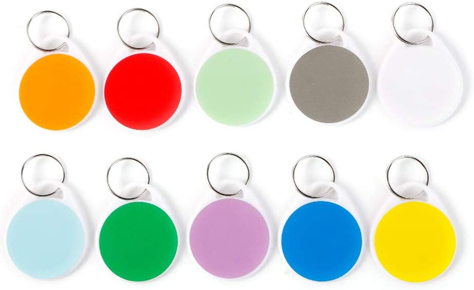 50 Pack Plastic Key Tags with Split Writable Opening large release sale Cheap SALE Start Tag Ring Round