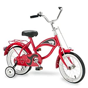"""Morgan Cycle 14"""" Cruiser Bicycle with Training Wheels, Red"""