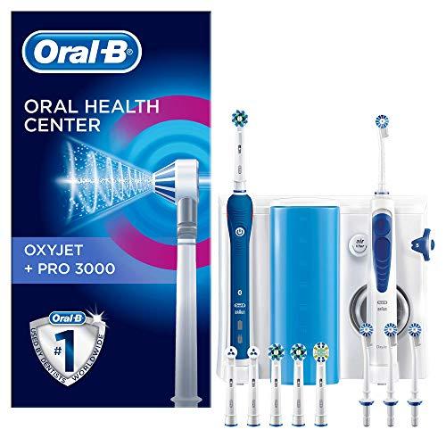 Oral-B PRO 3000 Kit per L'Igiene Orale Spazzolino Elettrico e Idropulsore Oxyjet con 4 Testine Oxyjet e 6 Testine di Ricambio per Spazzolino, Bianco   Blu