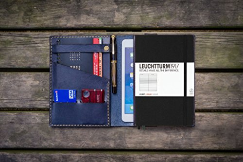 Leather Leuchtturm1917 A5 Notebook Cover - Navy Blue