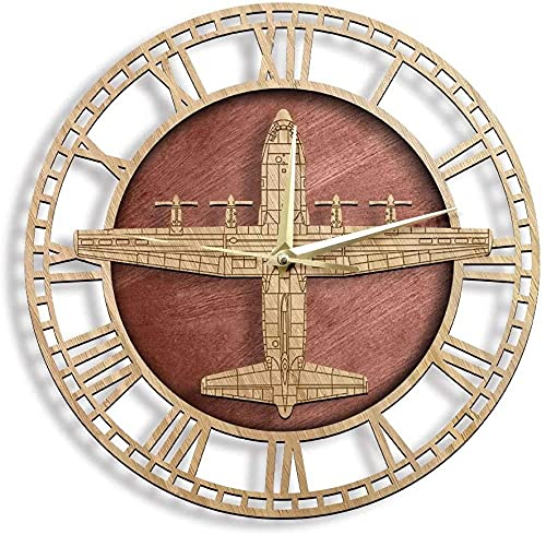 The Geeky Day C-130H Hercules Hercules Style Style Wall Clock Quiet Sweep Quartz Wall Watch Army Tactical AviAplane Aviaiton Home Decor Pilots Regalo