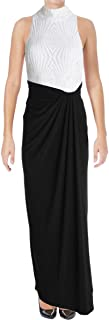 Womens Sequined Gown Dress blwhtsh 2 Black/White